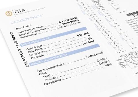 GIA Dossier Certificate for Diamond